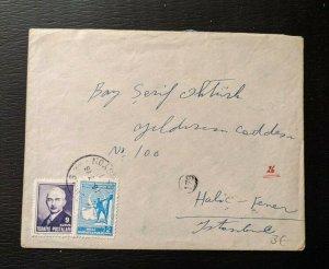 1946 Sivas Turkey Cover to Halic Fener Istanbul Turkey
