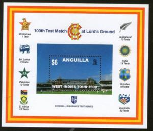 Anguilla 2000 100th Test March at Lord's Cricket Ground India Logo Sc 1018A M...