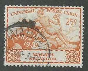Malaya-Selangor  Scott 78  Used