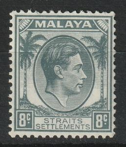 Malaya Straits Settlements 1938 KGVI 8c MLH SG#283 M1965