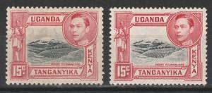KENYA UGANDA & TANGANYIKA 1938 KGVI MOUNT KILIMANJARO 15C BOTH LISTED PERFS