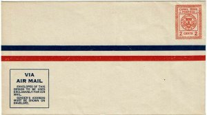 Canal Zone 1928 2c airmail stationery envelope unused, UC1, $135