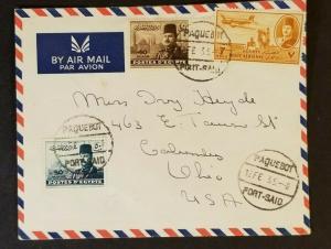 1935 Egypt to Columbus Ohio USA Paquebot Port Said Air Mail Cover