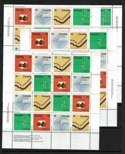 Canada SC# 582 - 585 Cplt Sheets / ALL 4 Designer Margin Positions / MNH - S2403