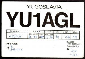QSL QSO RADIO CARD YU1AGL,Dennis,Photo of Hosutnjak Centre, Yugoslavia (Q4062)