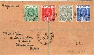 ST LUCIA KGV Cover Castries Registered GB Birmingham Wilson 1915{samwells}PB334