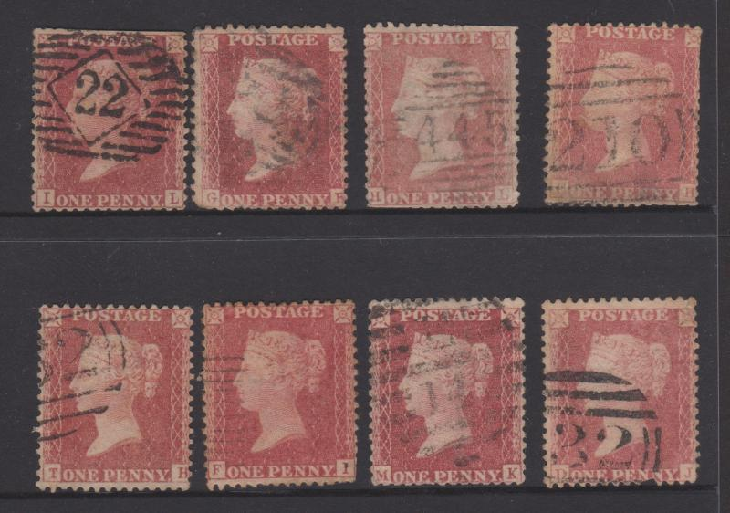 Great Britain 1856 QV 1d Red Sc#20 x 8 Copies Used