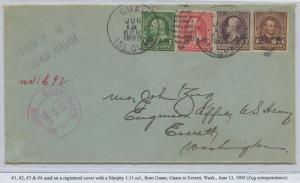 GUAM #1-4 ON REGISTERED COVER JUNE 13,1905 CV $1,250 BS8432 HS108G