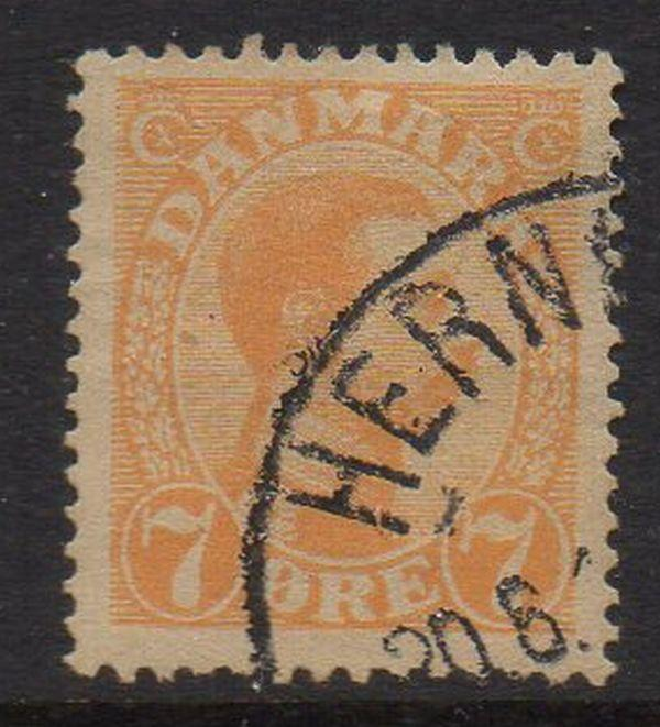 Denmark Sc 98 1918 7 ore orange Christian X stamp used