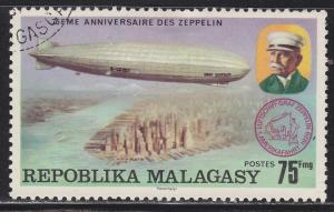 Fr Madagascar 547 Used 1976 Count Zeppelin and LZ-128