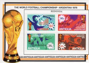 Antigua Redonda 1978 ARGENTINA WORLD CUP FOOTBALL s/s Perforated Mint (NH)