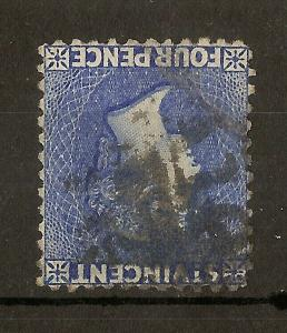 St Vincent 1883 4d WMK INV/Reversed SG43y Used Cat£200