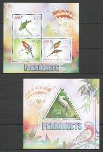 PE645 2014 DJIBOUTI PARROTS BIRDS FAUNA 1KB+1BL MNH