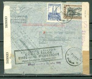 BELGIAN CONGO 1941  #C5 on CENSORED 1st DELAYED FLGT to US RETURNED to SENDER