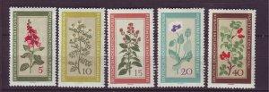 J24170 JLstamps 1960 germany DDR set mnh #494-8 flowers