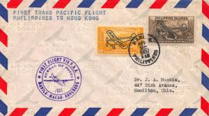 1937, First Trans-Pacific Flight Cover, Philippines to Hong Kong