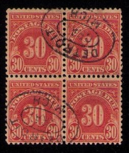 US Sc #J85 Used Zip Block Of Four Detroit Mich Cancelled Ovals F-VF