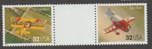 U.S. Scott #3142 Airplane Stamps - Mint NH Vertical Gutter Pair