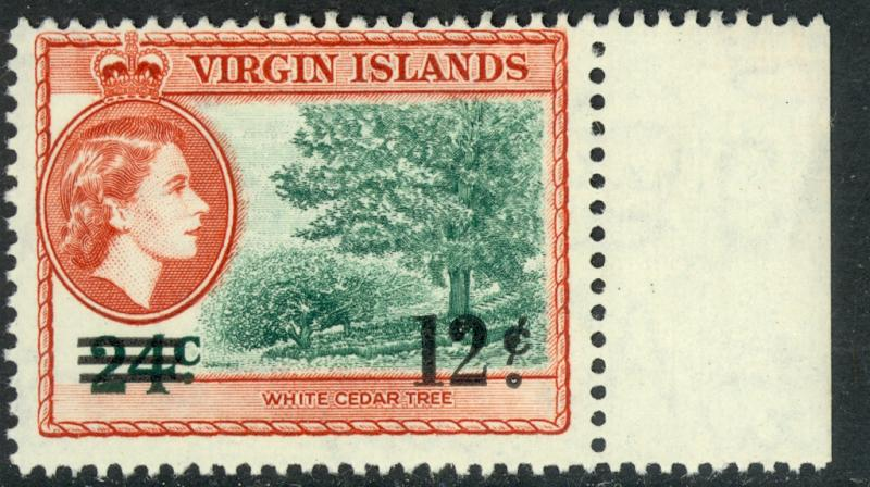BRITISH VIRGIN ISLANDS 1962 12c on 24c CEDAR Tree Surcharge Issue Sc 135 MNH