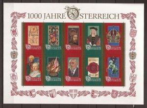 1996 Austria - Sc1710 - MNH VF - Mini Sheet - Austria Millennium