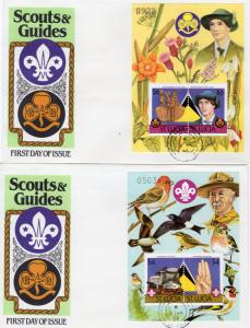 St.Lucia 1986 Scouting/Birds/Flowers 2 S/S perforated  Sc.# 823/824 FDC (2)