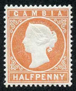 Gambia SG10B 1/2d Orange wmk Crown CC Upright M/Mint
