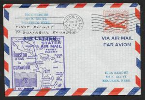 UNITED STATES First Flight Cover on Aerogramme 1948 Houston to Guayaquil Ecuador