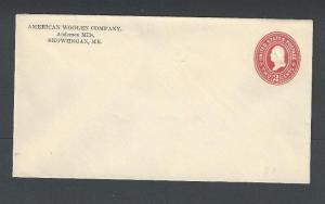 1899 U367 Mint Entire 2c Carmine On White Die 101