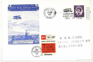 AD65 1961 GB AVIATION Windsor Berks 1st UK Aerial Post BEA Stamp HELICOPTERCover