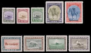 GREENLAND 1945 AMERICAN ISSUE SET MNH #10-18 and CV$500.00