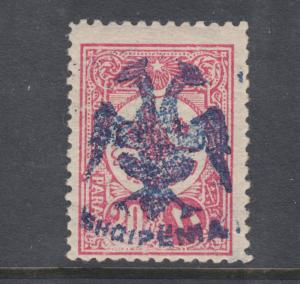 Albania Sc 6 MLH. 1913 20pa carmine rose, Double Headed Eagle overprint, signed