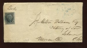 Scott 2 Washington Imperf Used Stamp on Nice 1850 Cover (Stock 2-Cover 1)