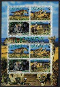 Uganda WWF Spotted Hyaena Sheetlet of 2 sets 2008 MNH SC#1892a-d SG#MS2555