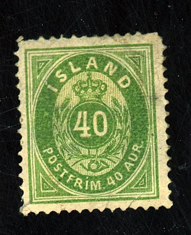 ICELAND #14 USED FVF PAPER HR SM THIN PULLED CORNER PERF Cat $300