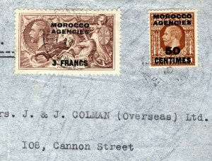 MOROCCO AGENCIES KGV Cover Casablanca 2s/6s 1 Fr Seahorse Air Mail 1936 MC137a