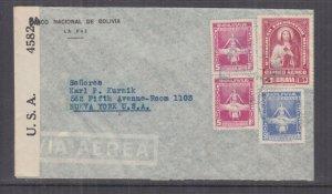 BOLIVIA, 1944 Airmail Censored cover, La Paz to USA, 50c., 4b., 5b.(2).