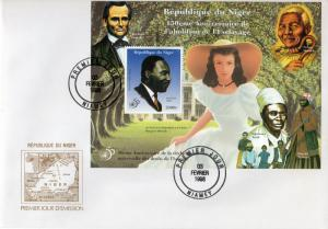 Niger 1998 MARTIN LUTHER KING/MANDELA/50th.Years Human Rights S/S Perforated FDC