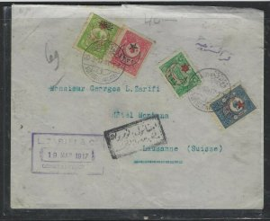 TURKEY COVER (PP0605B)  1917 4 STAMP REG COVER TO  SWITZERLAND
