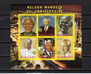 Benin, 2008 issue. Nelson Mandela, IMPERF sheet of 6. Rotary logo.
