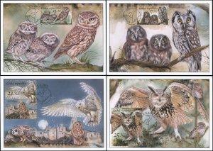 Czech Republic. 2015. Owls (Mint) Set of 4 Maxi Cards