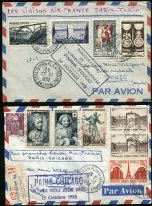 PARIS France FFC Airmail First Flight TOKYO CHICAGO Returned Cover Collection