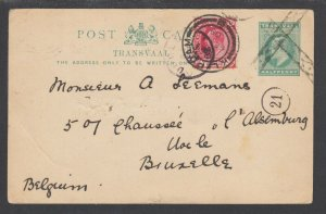 Cape of Good Hope Sc 64 uprates H&G 11 used 1909 Transvaal Postal Card to BELGIU
