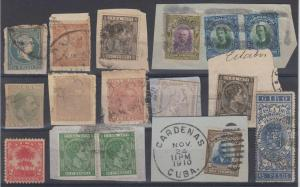 SPANISH ANTILLES 1855-1910 GROUP OF 11 PIECES & TWO SINGLES KEY ITEMS & CANCELS+
