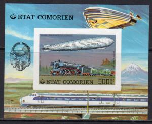Comoro 1977 Mi#Bl.83B TRAINS/ZEPPELIN/SPACELAB STS9 S/S Imperforated MNH