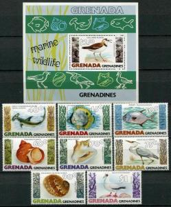 Grenada Grenadines 1979 sea birds shells marine life set+s/s MNH