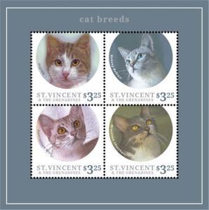 St. Vincent - 2013 Cat Breeds on Stamps - 4 Stamp Sheet - SAV1336H