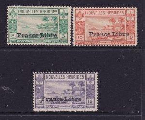 New Hebrides x 3 low values France Libre mint