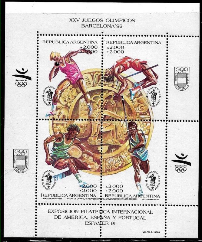 ARGENTINA 1990 SPORTS OLYMPIC GAMES BARCELONA 92 YV BL 49 Mi BL 45 MNH
