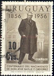 President Jose Battle Ordonez, Birth Cent., Uruguay SC#627 used