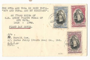 TONGA - Haapai 12 October 1938 20th Anniv of Queen Salote's Accession Set on FDC
